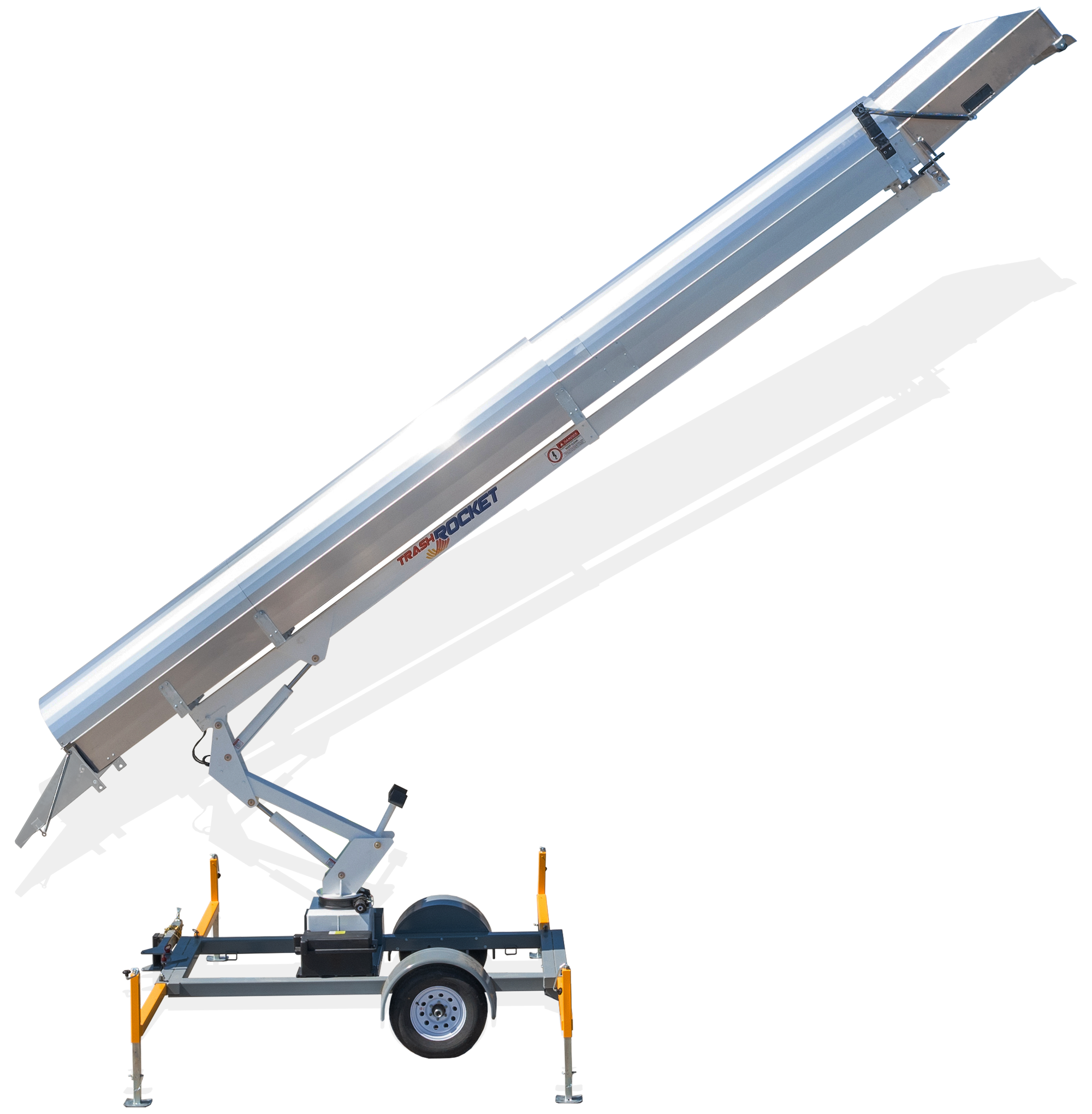 Rocket Equipment's Trash Rocket TR 3000 (Model TR3000) photo in extended position for use in residential roofing construction as mobile trash chute and debris disposal system