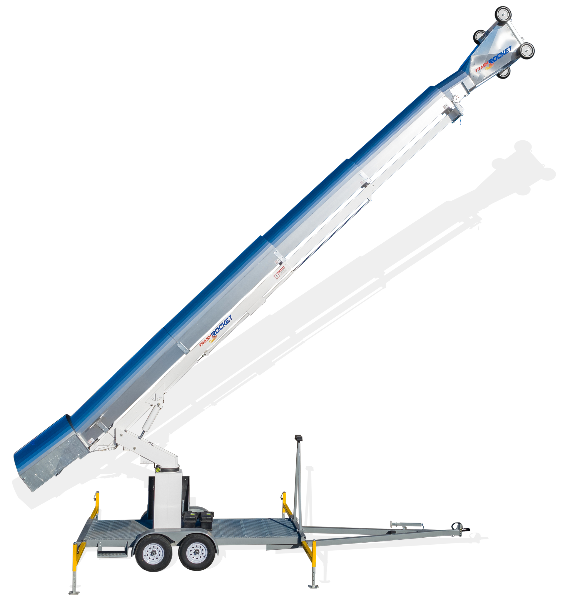 Rocket Equipment's Trash Rocket TR 3900 (Model TR3900) photo in extended position for use in construction as mobile trash chute system